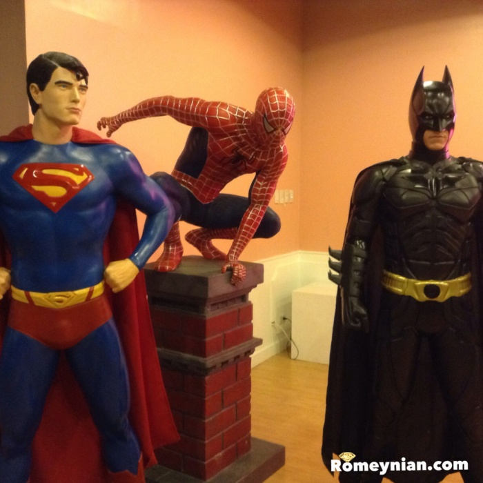 Life-size action figure of Superman, Spider-Man and Batman.
