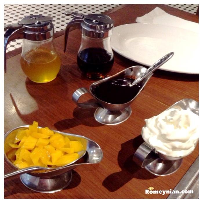 Mango, whip cream, chocolate