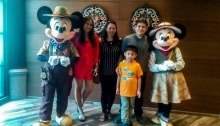 Mickey and Minnie Mouse in Disney Explorer's Lodge's Dragon Wind Cafe Hong Kong
